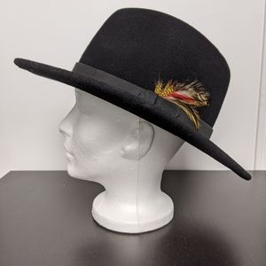 100% wool feather adorned hat